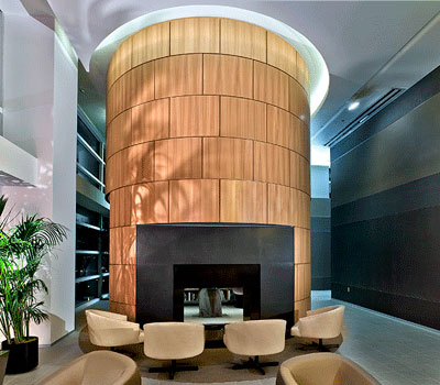 Curved Fireplace Woodwork Interior at 500 Lake Shore Drive Apartments