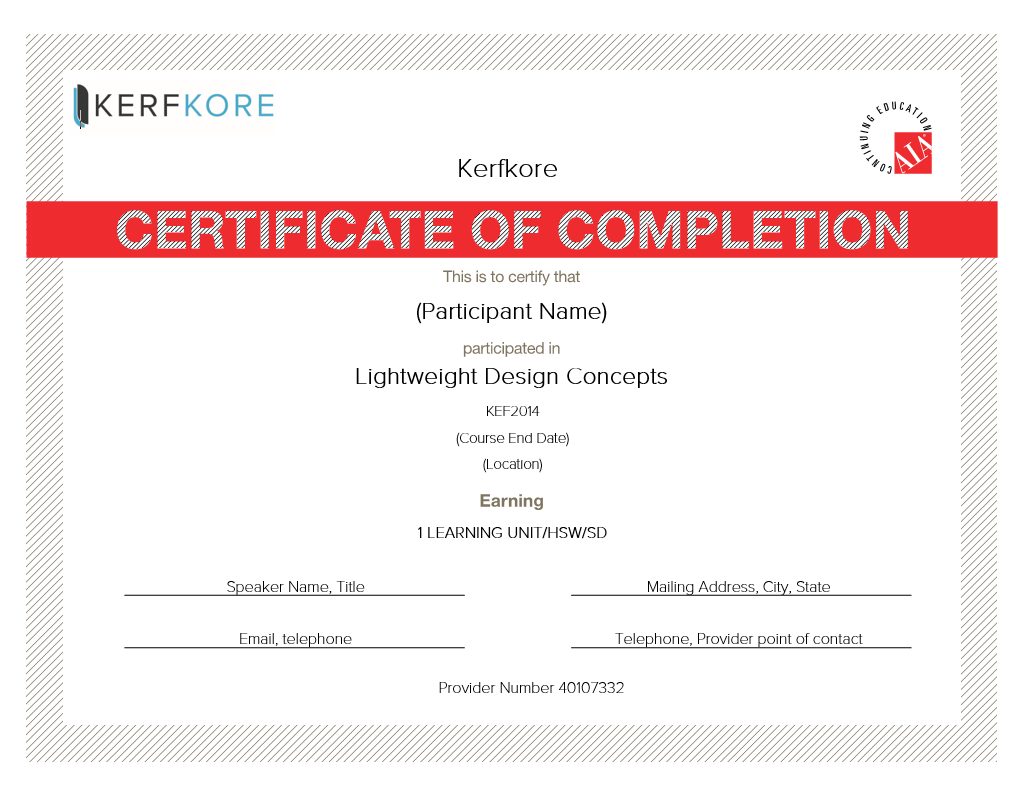 Kerfkore Worklite Lightweight Design Concepts AIA Certificate