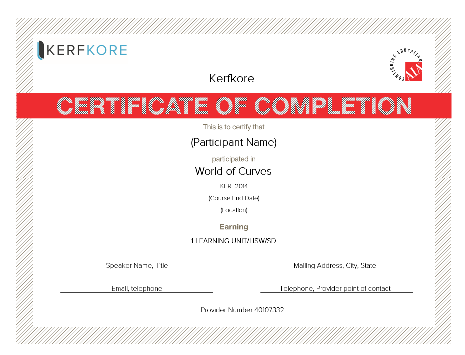Kerfkore World of Curves AIA Certificate
