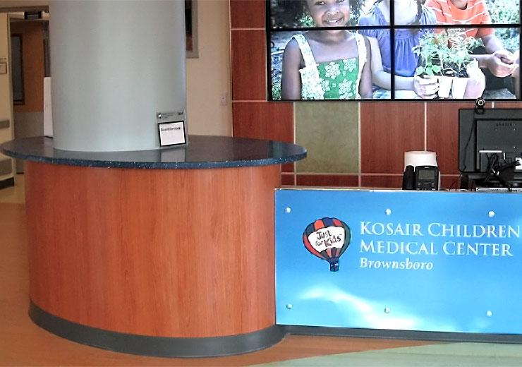 Flexboard Kosair Children's Hospital Counter